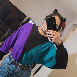 Vintage color block crew neck sweater
